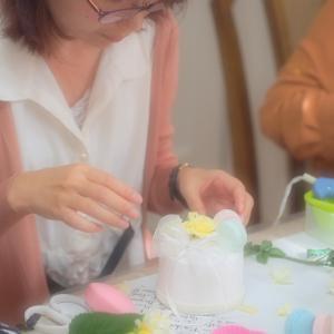 花嫁DIY ブライダルサポートレッスンでクレイケーキのリングピローを作成されました
