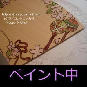ペットの似顔絵枠制作中 春色トールペイント 桜柄