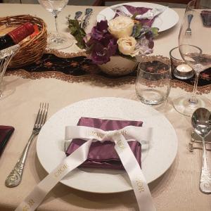 日曜日の晩御飯のテーブルコーディネートと銀座の夜景♪