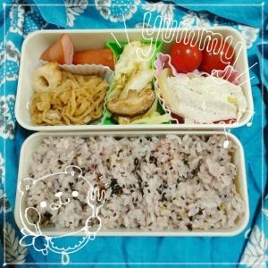 今日のお弁当とスクエア模様のペタンコバッグ。