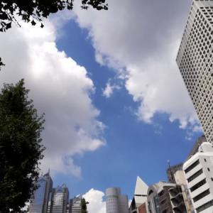 東京 仰ぎ見るビルの空風景 点描