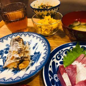 晩ご飯は太刀魚の焼き魚かぼちゃのサラダでした