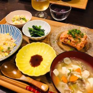 今日の晩ご飯はトロサーモンと豚汁