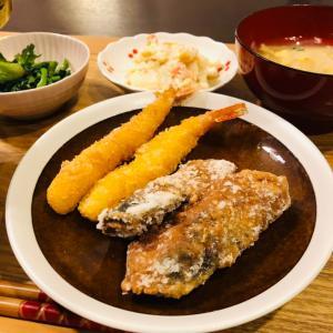 晩ご飯  サバの竜田揚げ