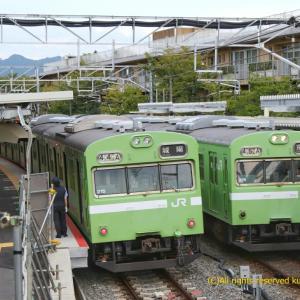 103系並びと桃山駅の変化