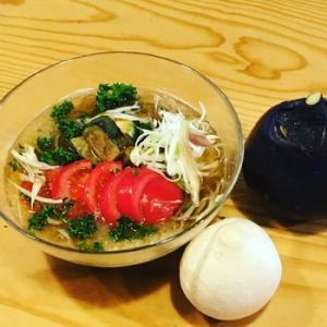 信州伝統野菜「小布施丸なす」×「親田辛味大根」+「完熟トマト」
