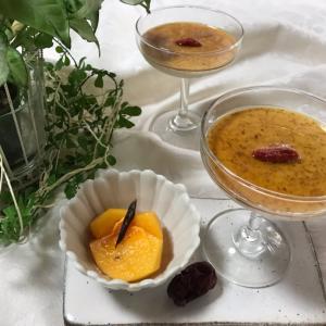 白胡麻豆乳プリン&柿のコンポート