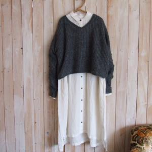 30%OFF・袖模様編み ショート丈 ニットプルオーバー