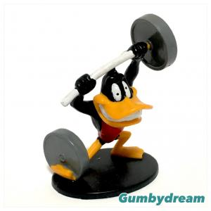 """Applause Looney Tunes PVC """"Daffy Duck Play Weightlifting"""" 1992"""