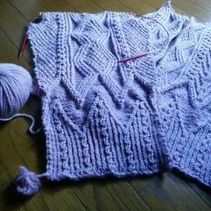 *編むのがたのしい、ニット・荒波と生命の樹のアランカーディガン*編み始め(;^_^A