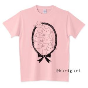 【T】6匹の白ネコTシャツ