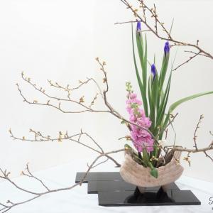 春の花木で白梅のいけばな