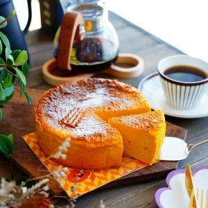 感謝祭ポチレポつづき&ハロウィンに♪混ぜて焼くだけ!かぼちゃのチーズケーキ。