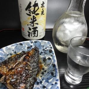 さばの照り焼きと吉田酒造「虎ノ児 純米酒」