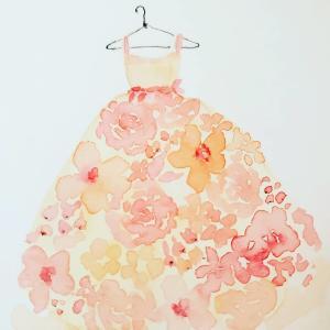 水彩画お花のドレス♪