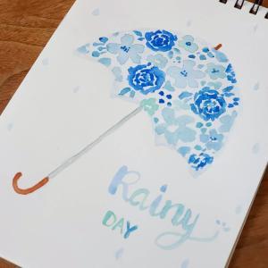 水彩画お花のアンブレラ♪