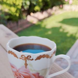 朝の庭で珈琲飲んでまったりタイム