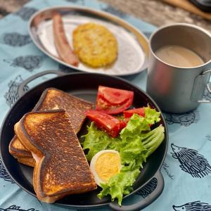 初のディキャンプで簡単な朝食を ⭐︎