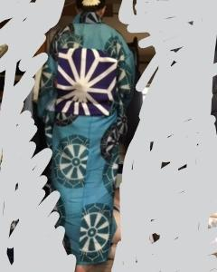 アンティーク絹紅梅の長着と帯