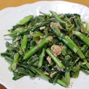 小松菜のツナマヨ炒め、ラディッシュの収穫最後