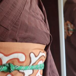 木綿単衣を浴衣着のマキシキャミ、木苺ヨーグルトゼリー