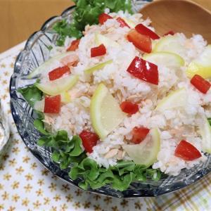 鮭レモン混ぜ寿司、お引きずり姿で豚バラ煮込む