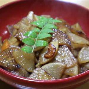 大根きんぴら、煮豚で野菜を食べる