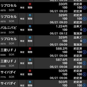 【株式投資】6/21のお取引(゚∀゚)ぎゃーと上げた2銘柄チャンスロス