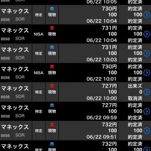 【株式投資】6/22お取引!戻ったものと秘技損だしと配当