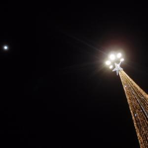 夕べの月と晩御飯 12月13日の金曜日