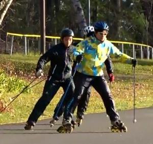 秋晴れのインラインスキー練習前半