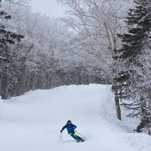 濃霧中の黒岳スキー場で滑走