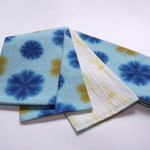 夏の色、夏の涼感を素材感と共に。「藤井絞 綿麻 雪華絞り半巾帯」