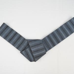 野蚕糸の素材感を普段着きもので楽しむ。「角帯「野蚕糸・タッサーシルク・横段」」