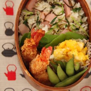 お弁当 No.629 ハムと豆苗の塩昆布バター混ぜご飯&海老フライ弁当