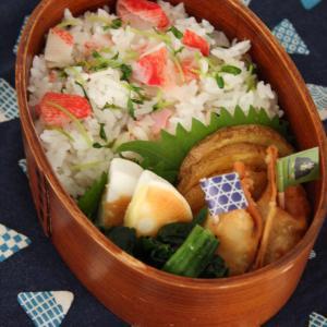 お弁当 No.702 かにかまと豆苗の混ぜご飯&揚げ餃子弁当