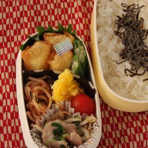 お弁当 No.742 揚げワンタン&豚バラともやしと豆苗の中華炒め弁当