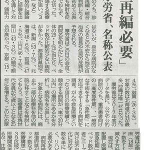 国保京丹波町病院含む424公的病院 再編必要 厚労省 名称公表─京都新聞より
