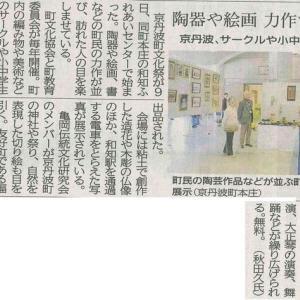 町 サークルや小中学生600点 陶器や絵画 力作ずらり─京都新聞 丹波版より