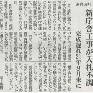 町 新庁舎工事が入札不調 完成遅れ 21年8月末に─京都新聞 丹波版より