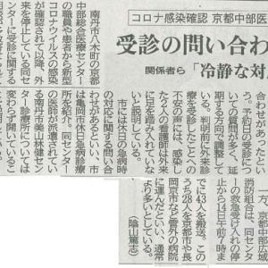 京都中部医療センター コロナ感染確認 受信の問い合わせ多数─京都新聞 丹波版より