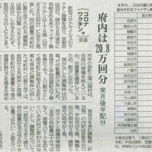 コロナワクチン 来月後半配分 府内は20.8万回分─京都新聞より