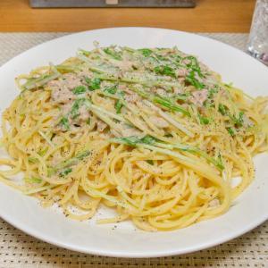 ツナと水菜のマヨネーズパスタ