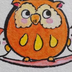 OWL (56) 印刷豆色紙 親子ふくろう(和紙)