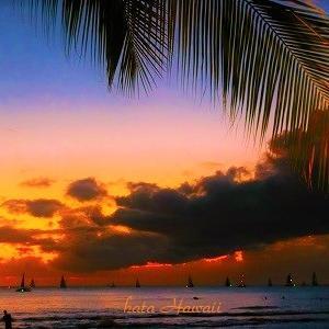 Hawaii☆最終日 ワイキキビーチの夜景が綺麗だったな♡