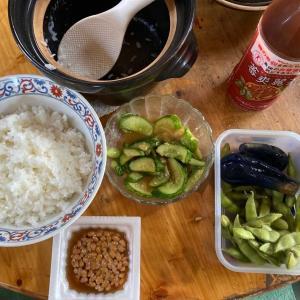 今日のランチ 土鍋ご飯と納豆、茄子漬け^ - ^