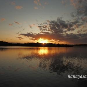 網走湖の夕日