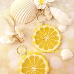 新作♪「2way花形スライスレモンとオレンジ」のイヤリング&ピアス