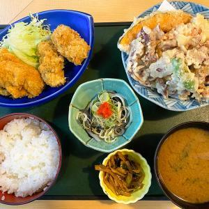 「海鮮居酒屋 まる重」のカキフライと天ぷらのランチ @名古屋市北区中切町