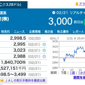 【ファイナンス】JAL株3000円かぁ、どうする?